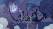 Castle of the Royal Pony Sisters in the distance S1E02.png