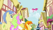 Crowd of ponies watching Pinkie Pie S4E12