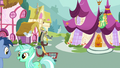 Discord pushes shopping cart through Ponyville S7E12.png