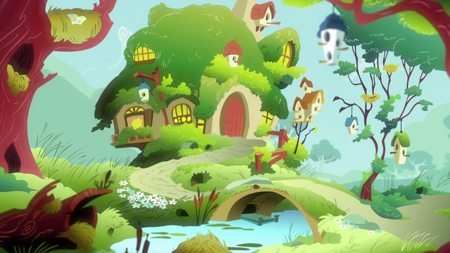 File:Fluttershy's cottage exterior at morning S7E5.png