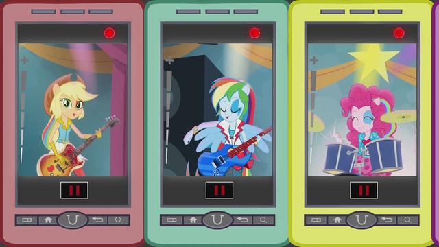File:Applejack, Rainbow, and Pinkie singing on phones EG2.png
