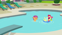Apple Bloom and Scootaloo in Diamond Tiara's pool S4E15