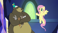 Fluttershy sings next to the bear S5E3