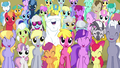 Ponyville residents smiling S4E26.png