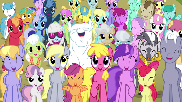File:Ponyville residents smiling S4E26.png