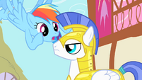 Rainbow Dash trying to get the guard's attention S1E22