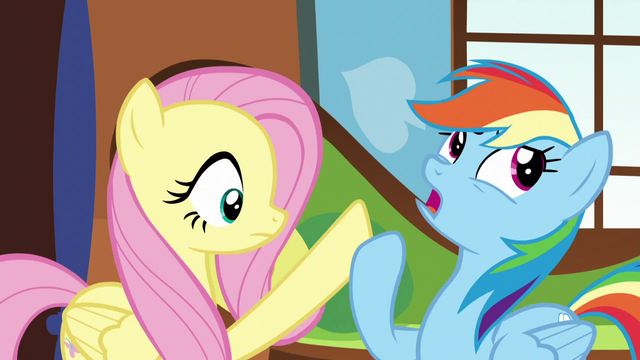 File:Rainbow pushes Fluttershy's hoof away S5E5.png