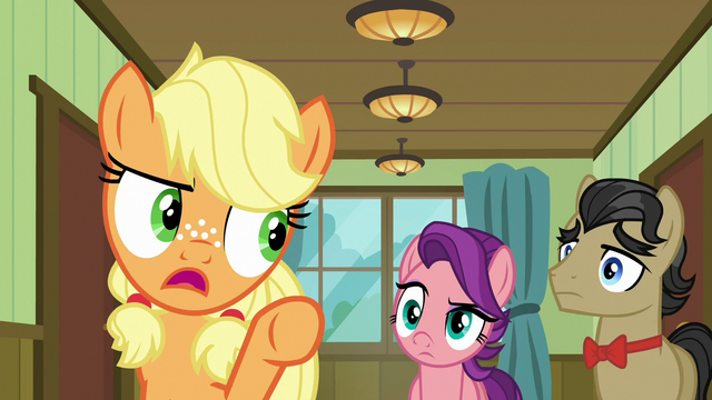 "File:Young Applejack ""don't lose that gurney!"" S6E23.png"
