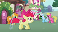 Apple Bloom about to throw the hoop, sticks and plates S2E06