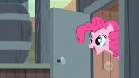 Pinkie Pie leaving the outhouse S2E14