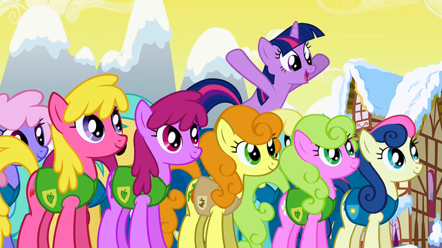 File:Twilight jumping above the other ponies S1E11.png