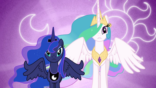 Arquivo:Luna and Celestia with their cutie marks in the background S3E01.png
