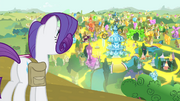 Rarity looking out over 'Rarified' Ponyville S4E23.png
