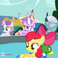 CMC, Diamond Tiara, and Silver Spoon by the pool S4E15.png