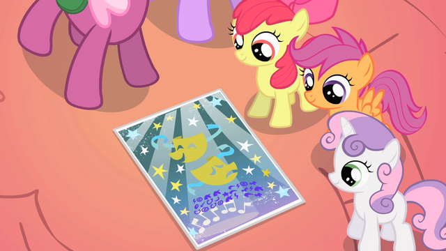 File:CMC looking at Ponyville school talent show flier S01E18.png