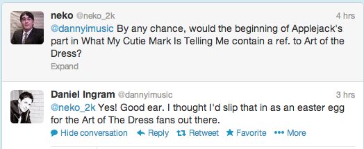 "File:Daniel Ingram reference to ""Art of the Dress"" in ""What My Cutie Mark…"".png"