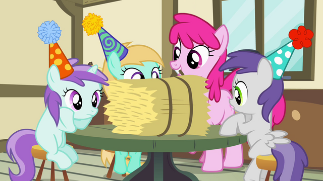 File:Mare and fillies with hay bale S4E12.png