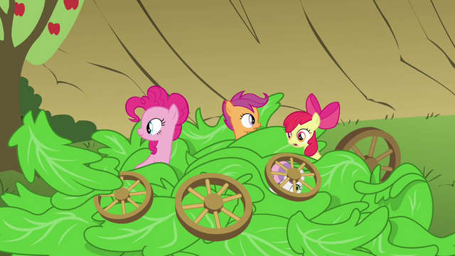 File:Pinkie Pie, Apple Bloom and Scootaloo sticking heads out of lettuce S3E4.png