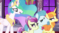 Princess Celestia walking with dignitary ponies S7E10