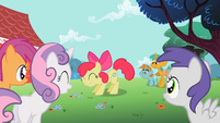 Apple Bloom showing cutie mark to other students S2E06