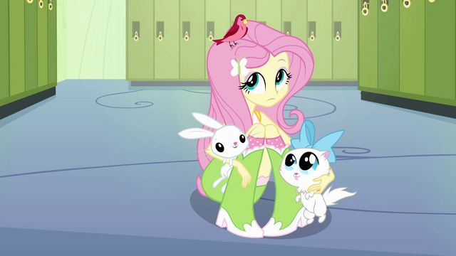 File:Fluttershy with animal friends 2 EG.png