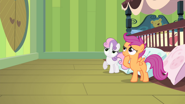 File:Scootaloo and Sweetie thinking S4E17.png