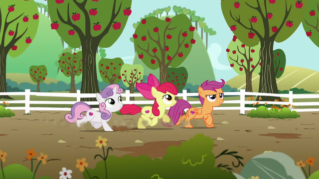 File:Cutie Mark Crusaders looking for Gabby S6E19.png