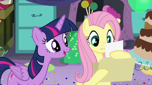 """File:Fluttershy reads """"Twilight Sparkle likes vanilla ice cream, red balloons, dancing..."""" S5E11.png"""