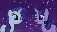 Rarity and Twilight looking at Spike S1E24