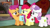 Cutie Mark Crusaders look at each other S5E6