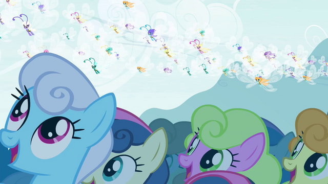 File:Ponyville watching the Breezies S4E16.png