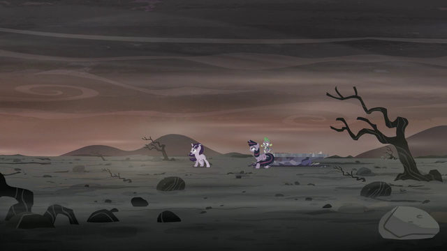 File:Twilight, Spike, and Starlight on the barren landscape S5E26.png