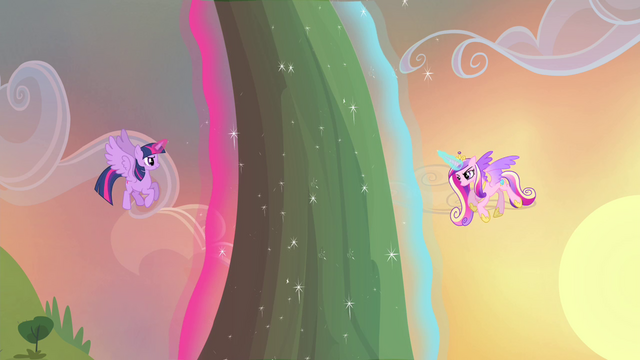 File:Twilight and Cadance using magic to levitate flower S4E11.png