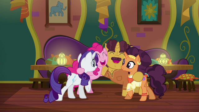 File:Rarity, Pinkie, Coriander, and Saffron group hug S6E12.png