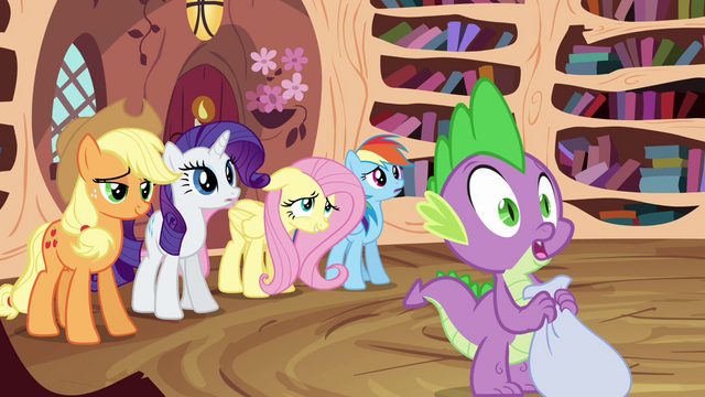 File:Applejack, Rarity, Fluttershy, Rainbow and Spike standing S3E01.png