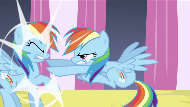 File:Changeling Rainbow pushing Rainbow Dash S2E26.png