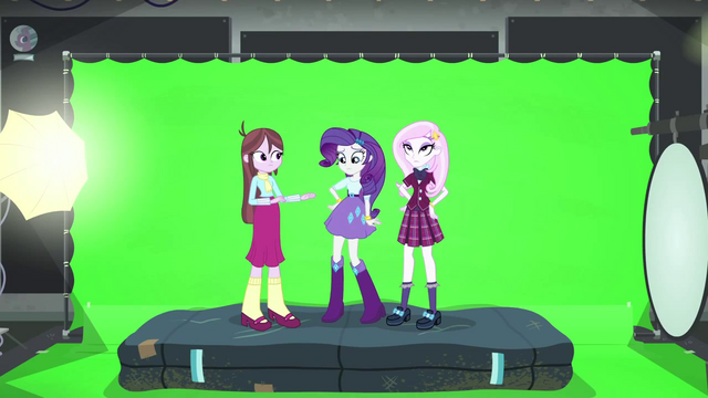 File:Rarity, Fleur, and Velvet in front of green screen EG3b.png