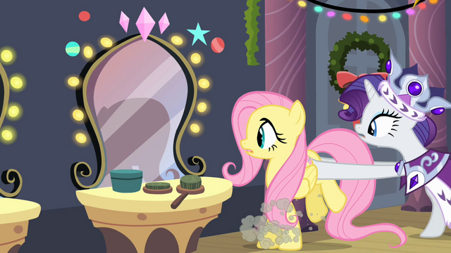 File:Rarity pushing Fluttershy S2E11.png