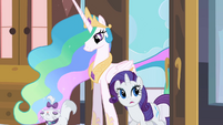 Princess Celestia entering room with Rarity and Opal S2E09