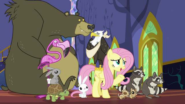 File:Fluttershy with her animal friends S6E21.png