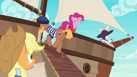 Pinkie and Rarity already on the ship S6E22