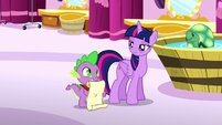 Spike has a scroll and quill ready S5E13