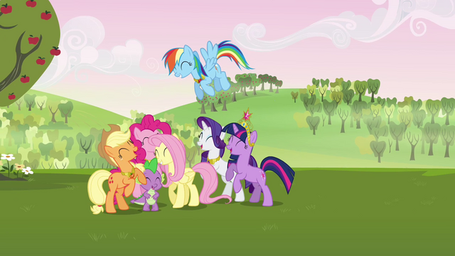 File:Main cast group cheer S03E10.png
