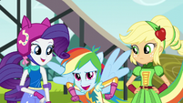 Rainbow swoops down next to her friends EG3