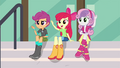 The CMCs waving to Rainbow Dash EG3.png