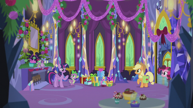 File:Twilight and friends in the decorated castle S5E20.png