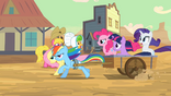 """Pinkie Pie and friends """"follow that stagecoach!"""" S2E14"""