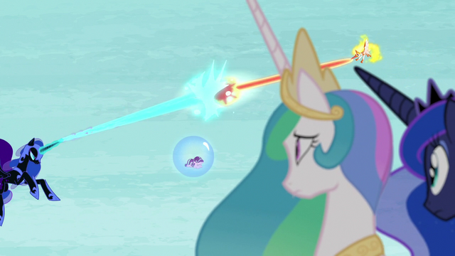 File:Celestia and Luna watch Nightmare Moon and Daybreaker battle S7E10.png