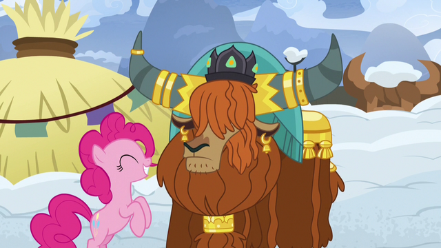 File:Pinkie bounces up and down in front of Rutherford S7E11.png