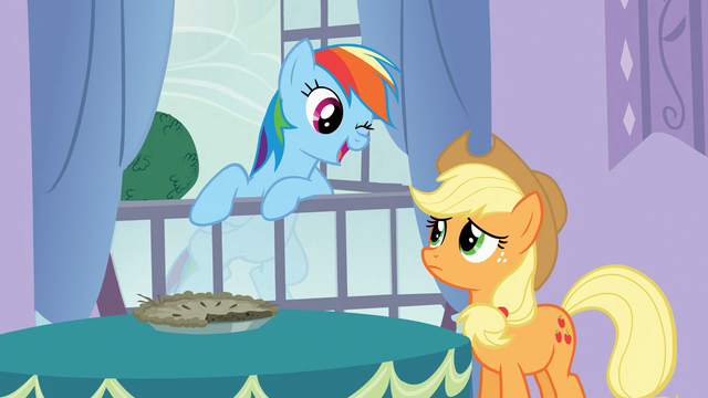File:Rainbow Dash winks at Applejack S03E09.png